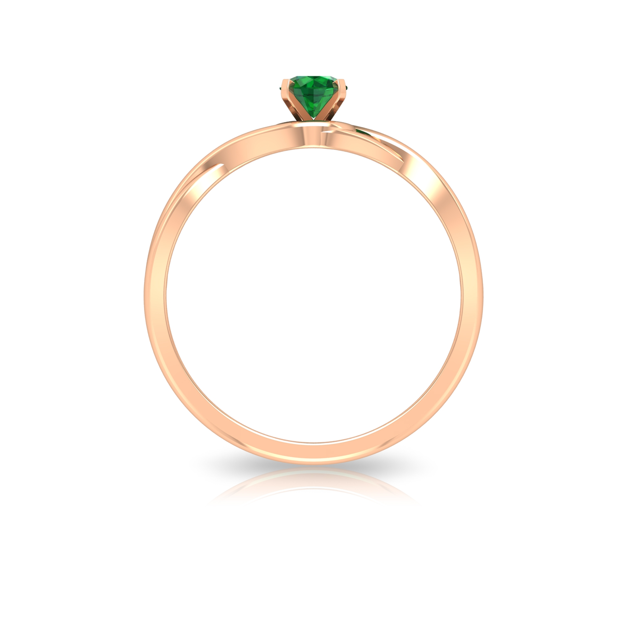 4 MM Round Cut Solitaire Emerald Ring in Square Prong Setting with Crossover Shank