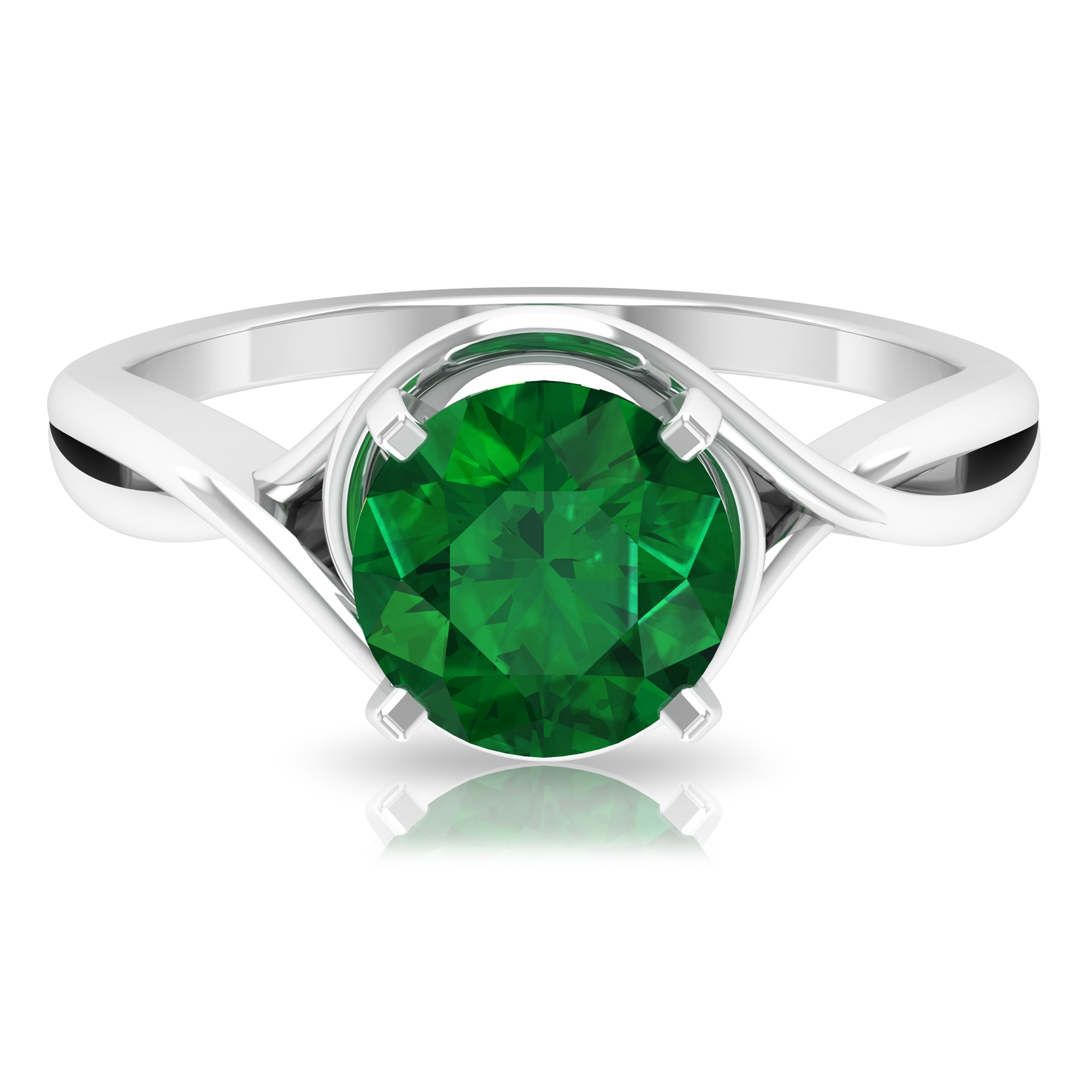 8 MM Four Prong Peg Head Set Round Cut Emerald Solitaire Crossover Ring