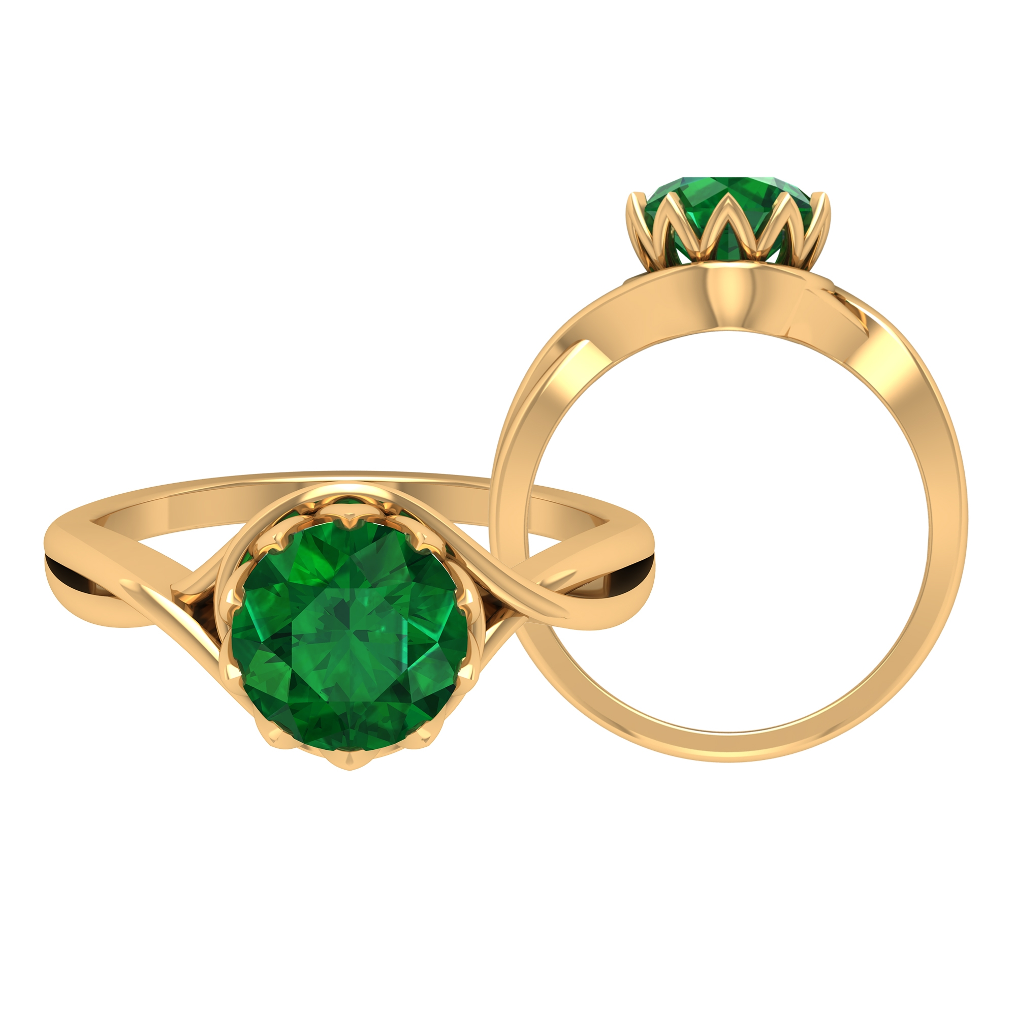 8 MM Lotus Basket Set Round Cut Emerald Solitaire Crossover Ring