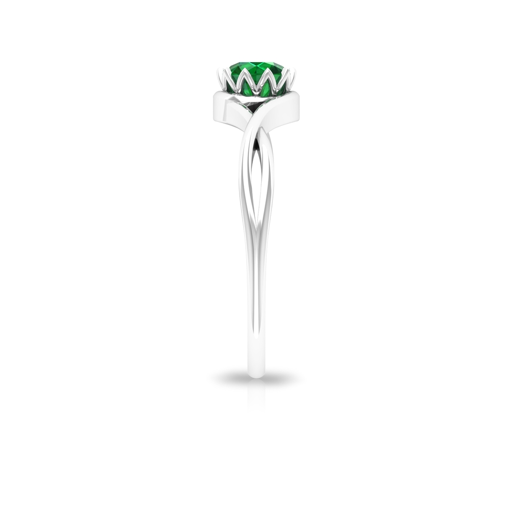 5 MM Round Cut Solitaire Emerald Ring in Lotus Basket Setting with Crossover Shank