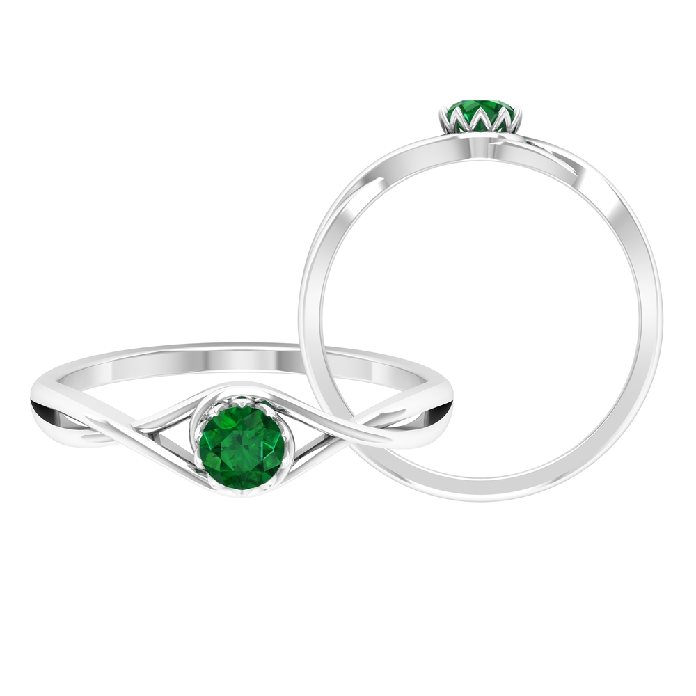 4 MM Round Cut Solitaire Emerald Ring in Lotus Basket Setting with Crossover Shank