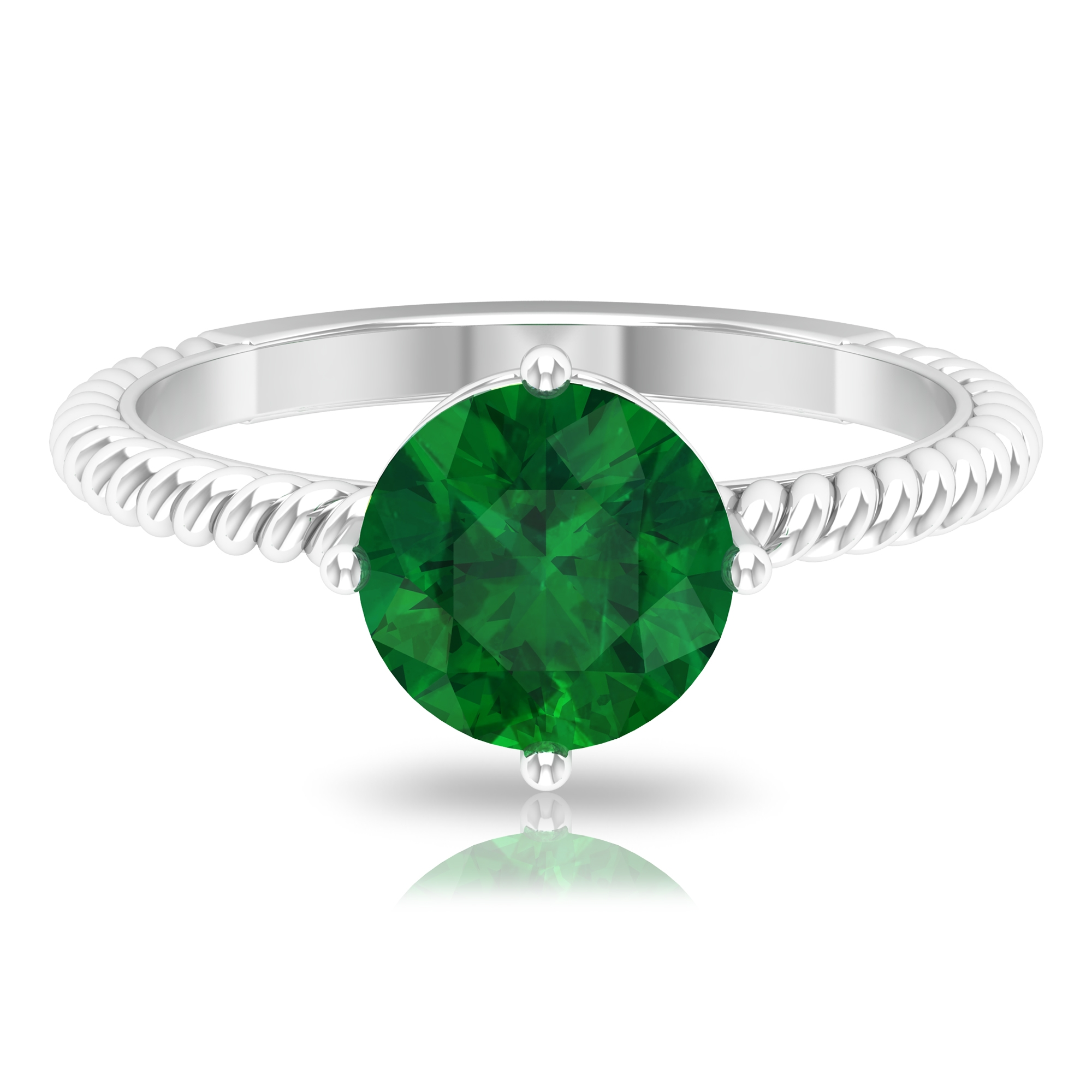 May Birthstone 8 MM Four Prong Diagonal Set Emerald Solitaire Ring with Twisted Rope