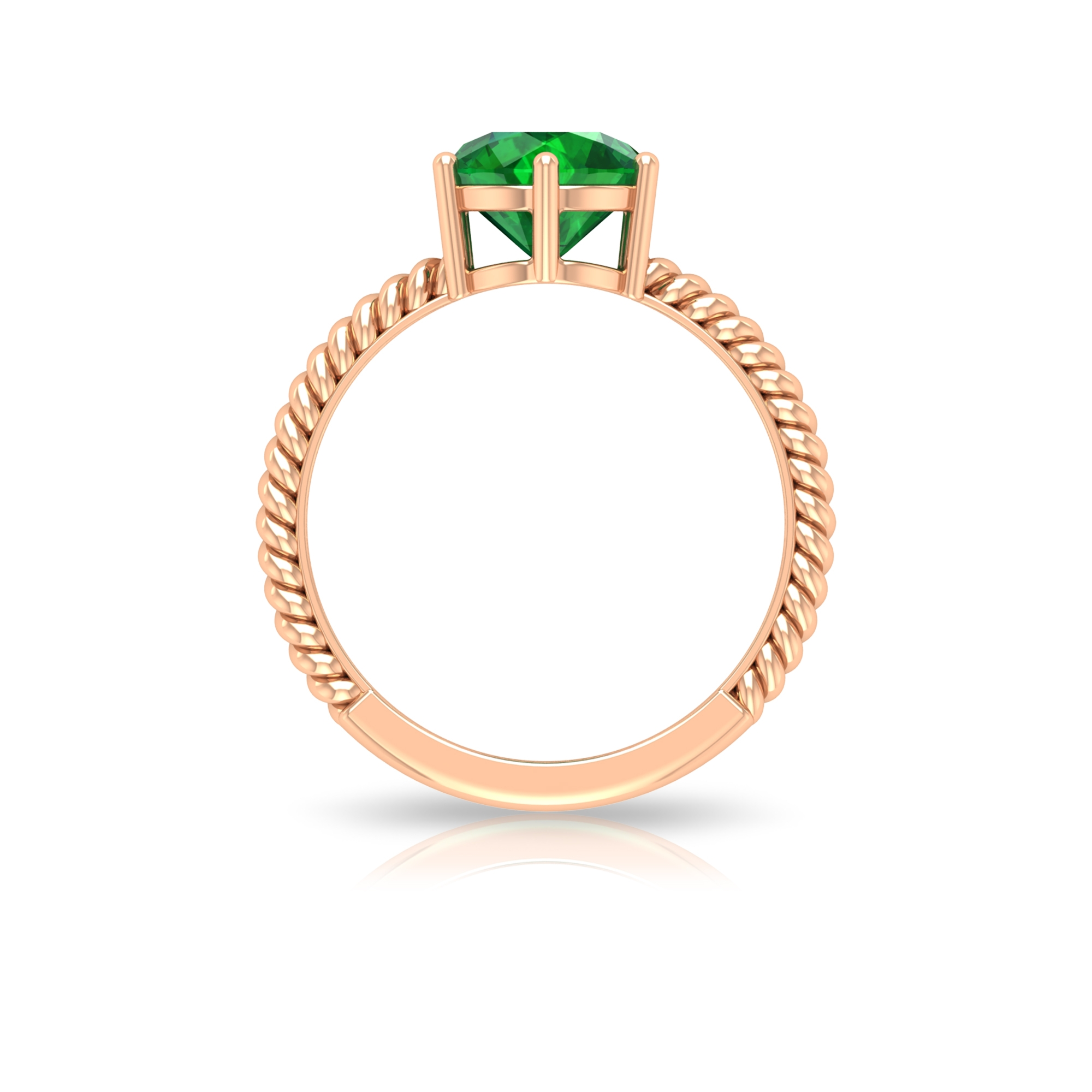 May Birthstone 8 MM Six Prong Set Emerald Solitaire Ring with Twisted Rope