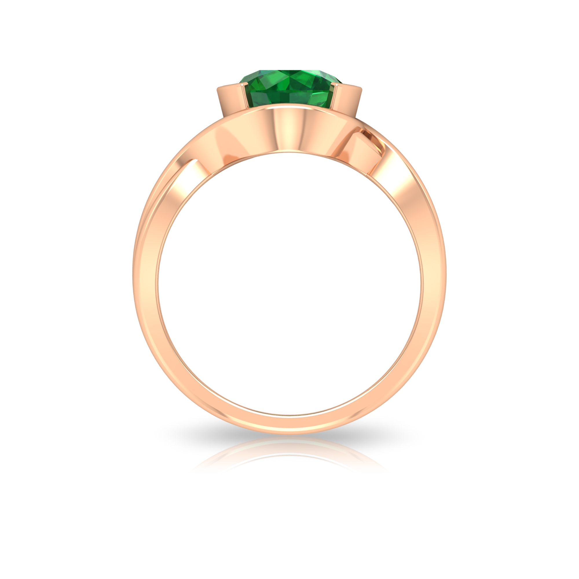 May Birthstone 8 MM Half Bezel Set Emerald Solitaire Ring with Twisted Rope