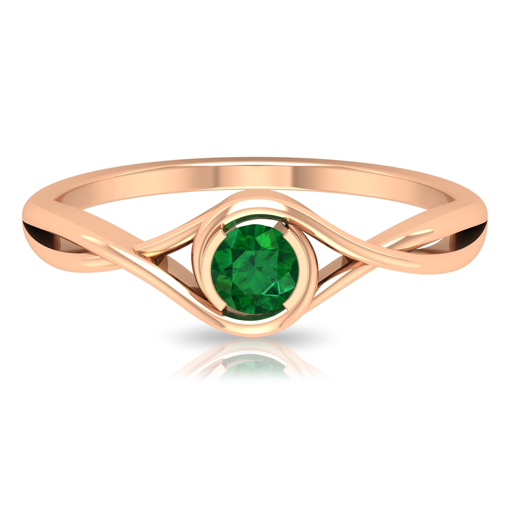 4 MM Round Cut Solitaire Emerald Ring in Half Bezel Setting with Crossover Shank