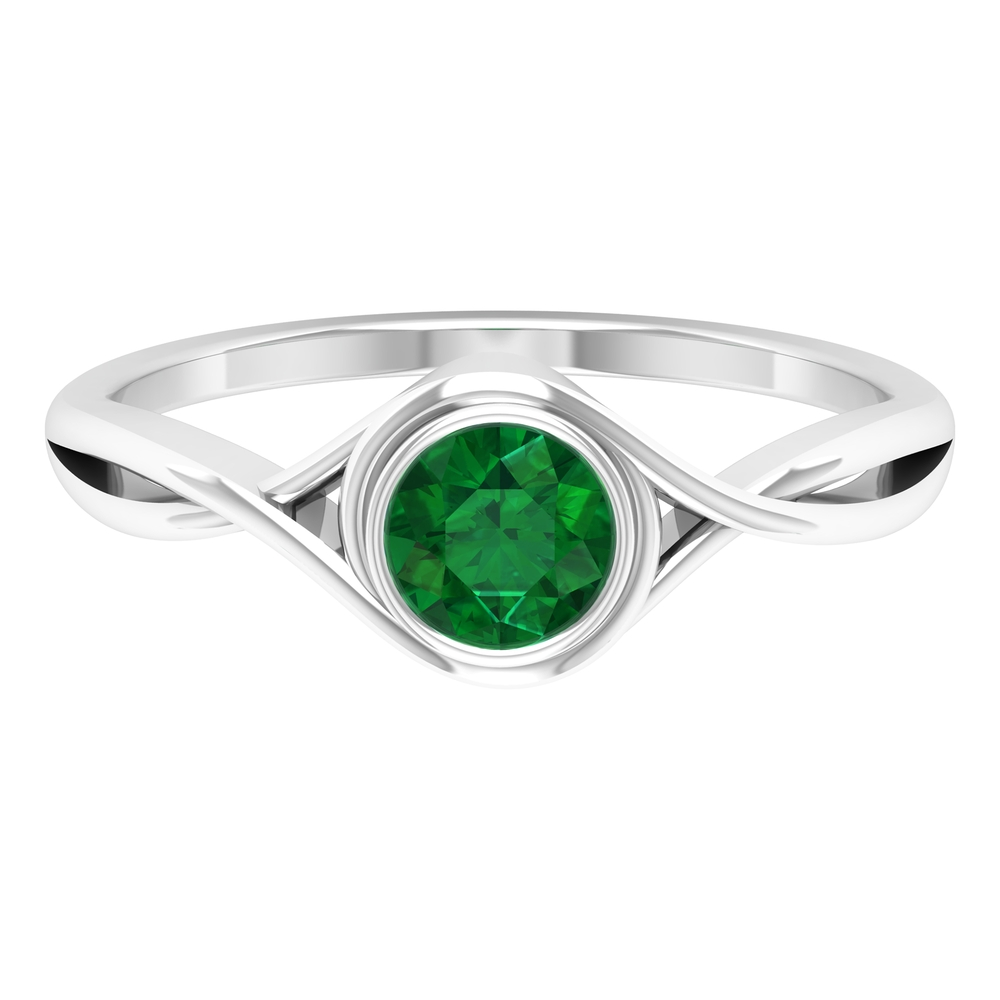 5 MM Round Cut Solitaire Emerald Ring in Bezel Setting with Crossover Shank