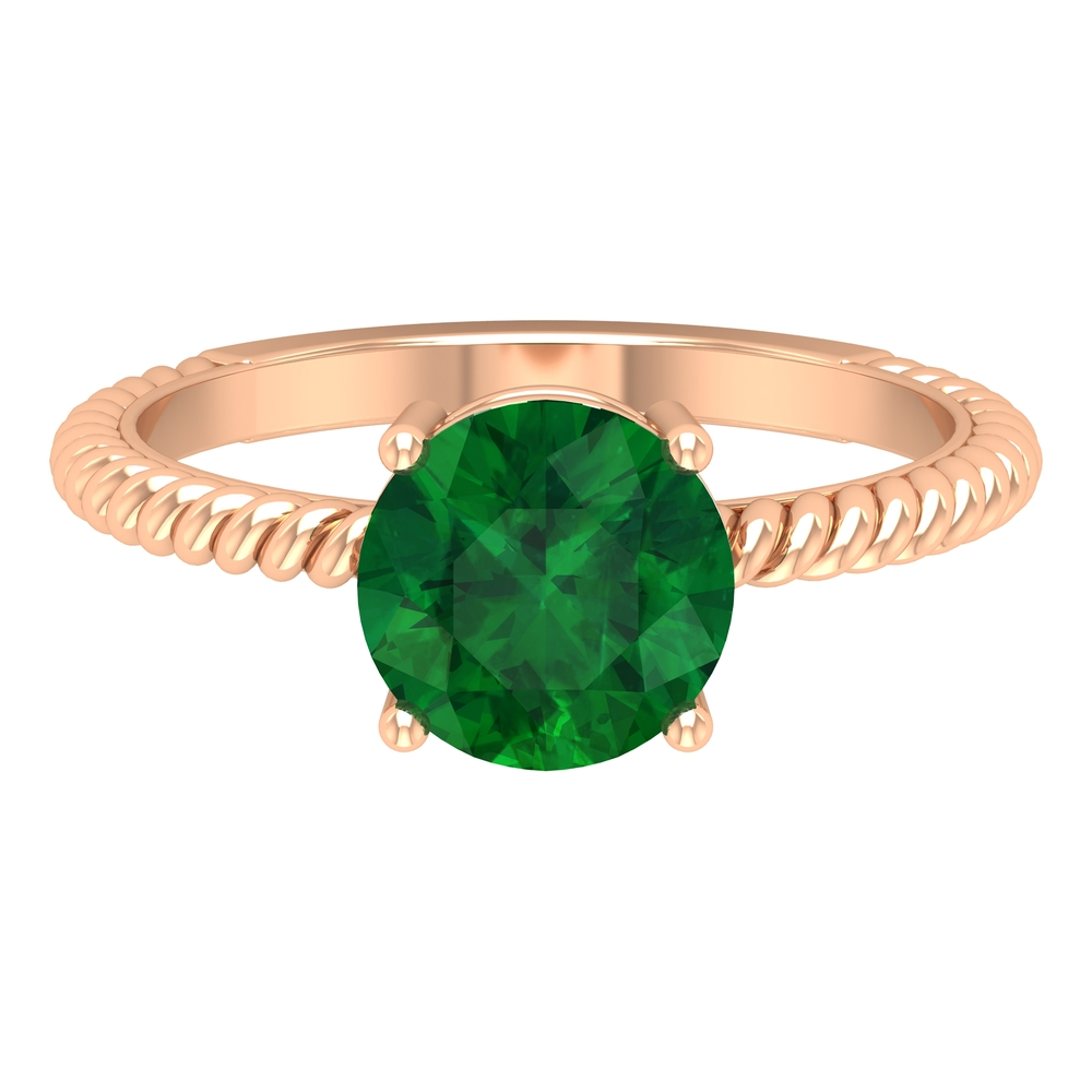 May Birthstone 8 MM Four Pong Set Emerald Solitaire Ring with Twisted Rope