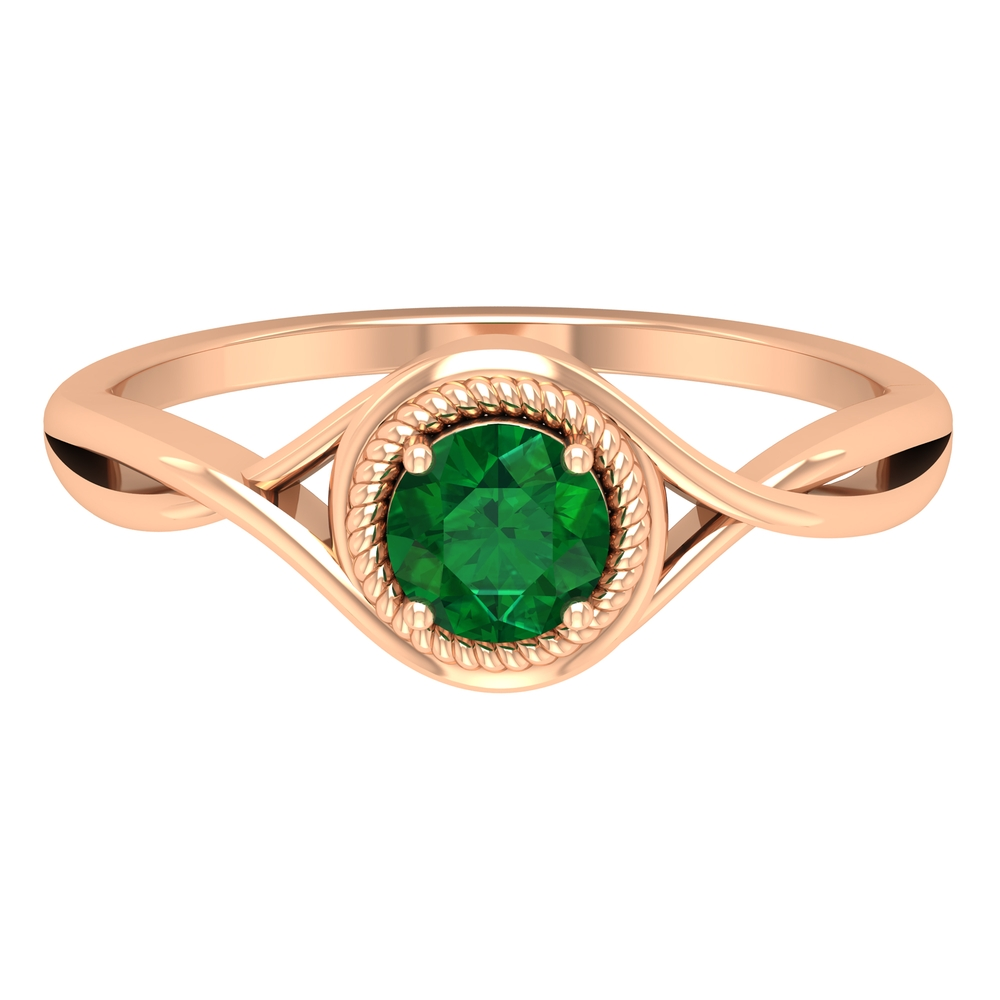 5 MM Rope Frame Emerald Solitaire Ring with Crossover Shank