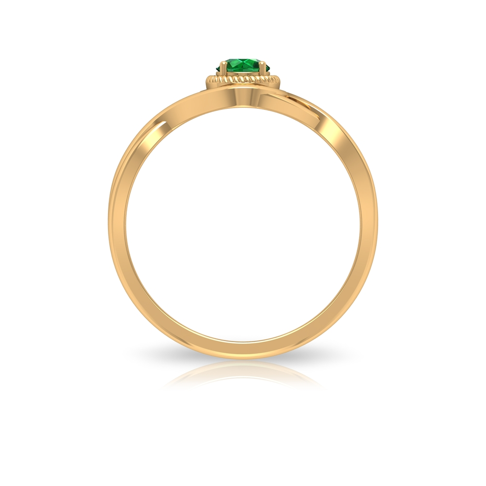 4 MM Rope Frame Emerald Solitaire Ring with Crossover Shank