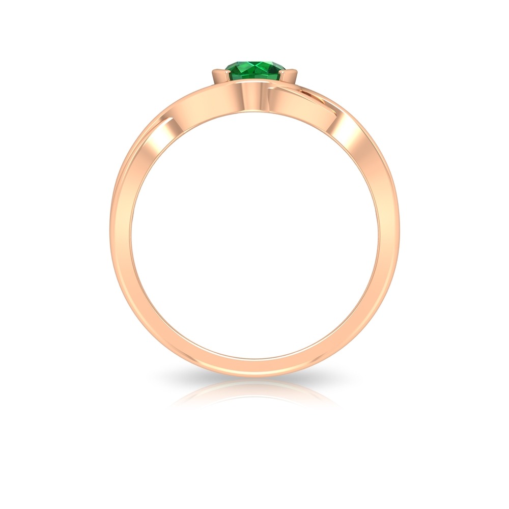 5 MM Round Cut Solitaire Emerald Crossover Ring in Half Bezel Setting