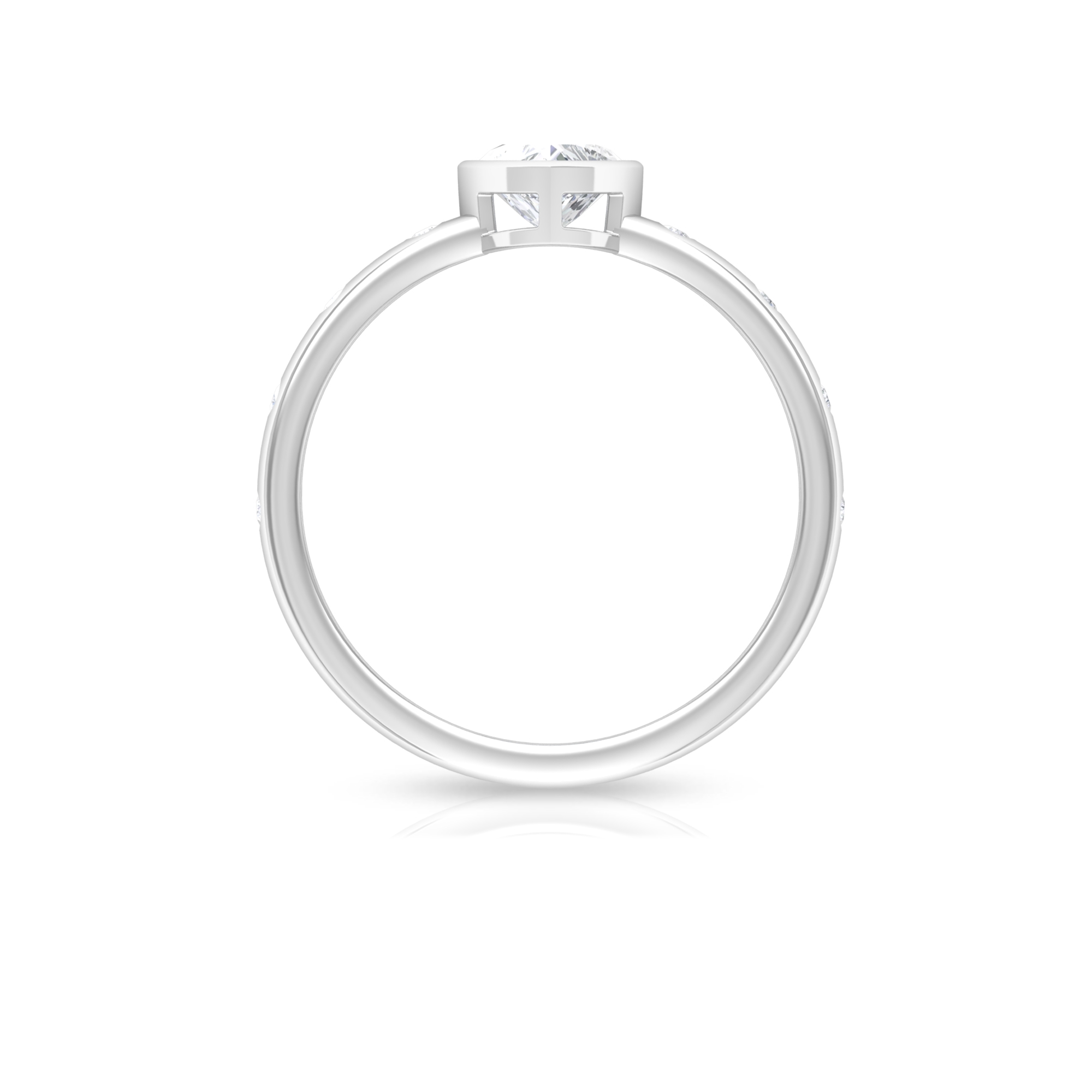 1/2 CT Heart Shape Diamond Solitaire Ring in Bezel Setting with Sleek Accent