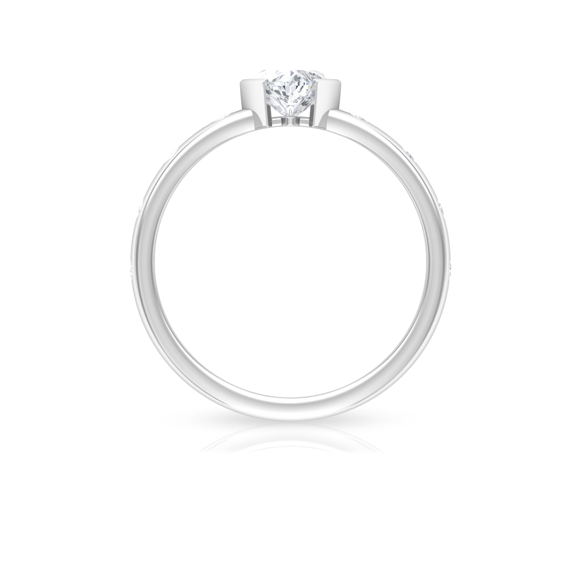 1/2 CT Heart Shape Diamond Solitaire Ring in Half Bezel Setting with Sleek Accent