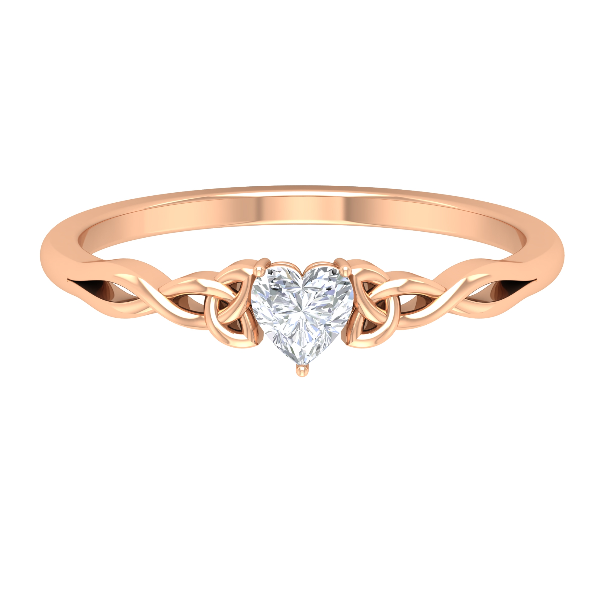 Three Prong Set 4 MM Heart Diamond Solitaire Ring with Celtic Style