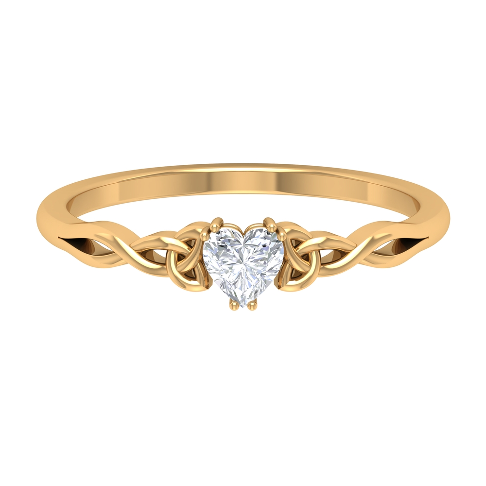 4 MM Heart Diamond Solitaire Ring in Double Prong Set with Celtic Design