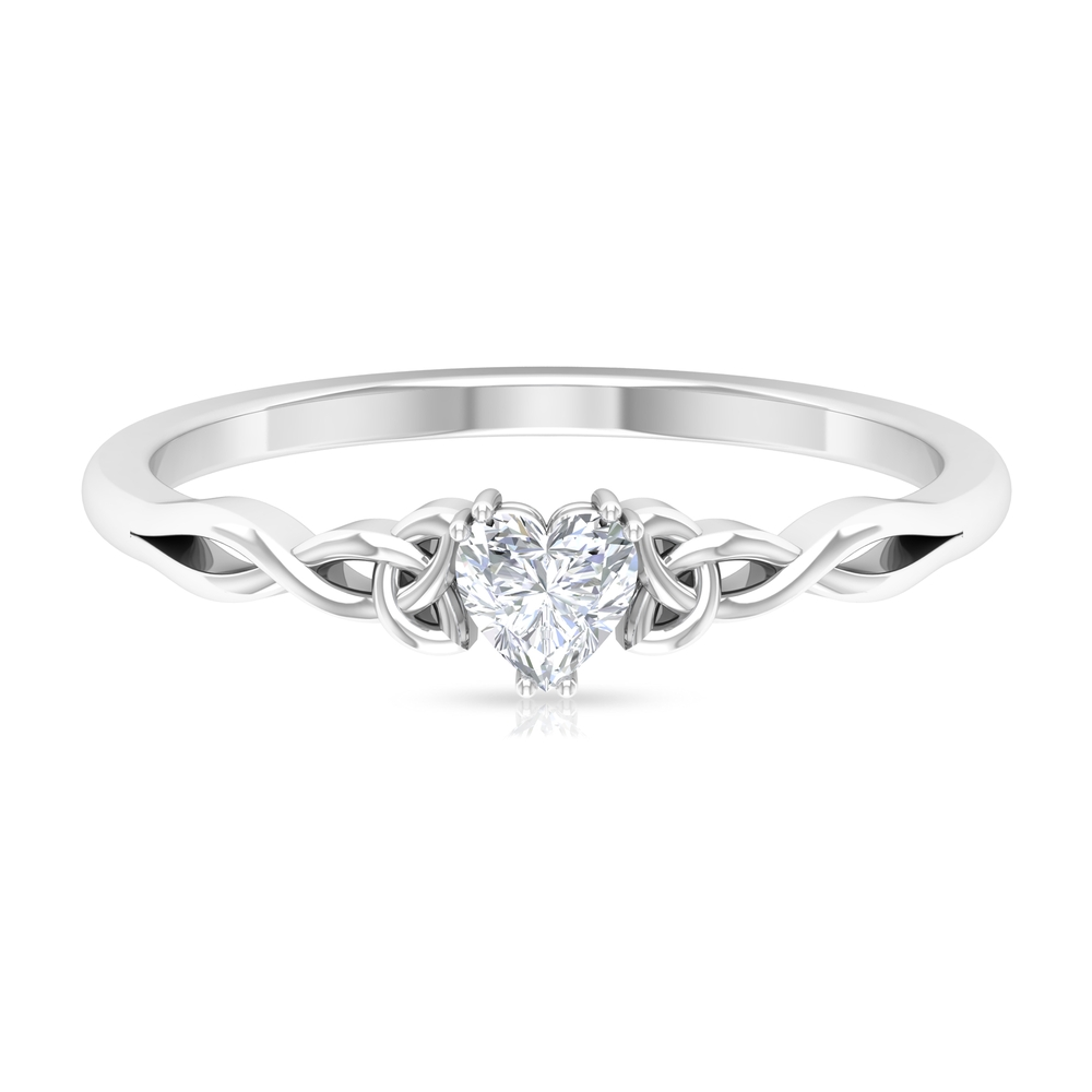 Three Prong Basket Set 4 MM Heart Solitaire Diamond Ring in Celtic Style