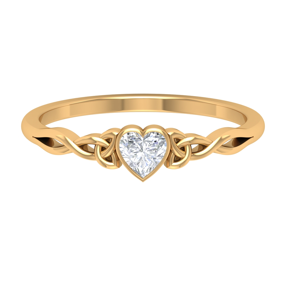 4 MM Heart Shape Diamond Solitaire Ring in Bezel Setting with Celtic Band