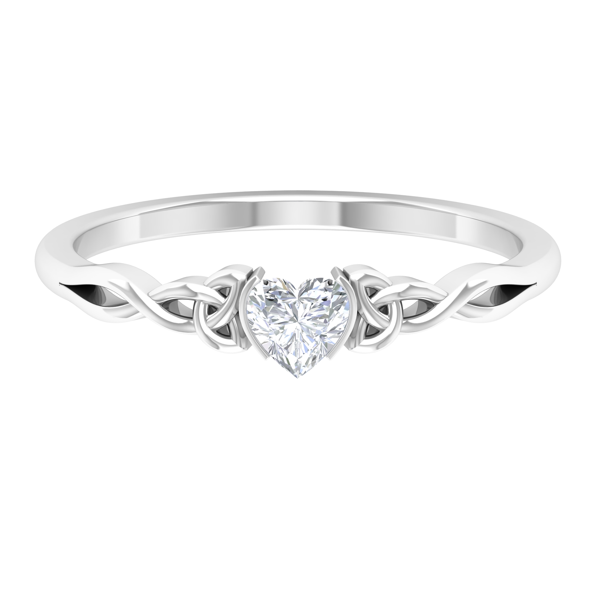 4 MM Heart Shape Diamond Solitaire Ring in Half Bezel Setting with Celtic Band