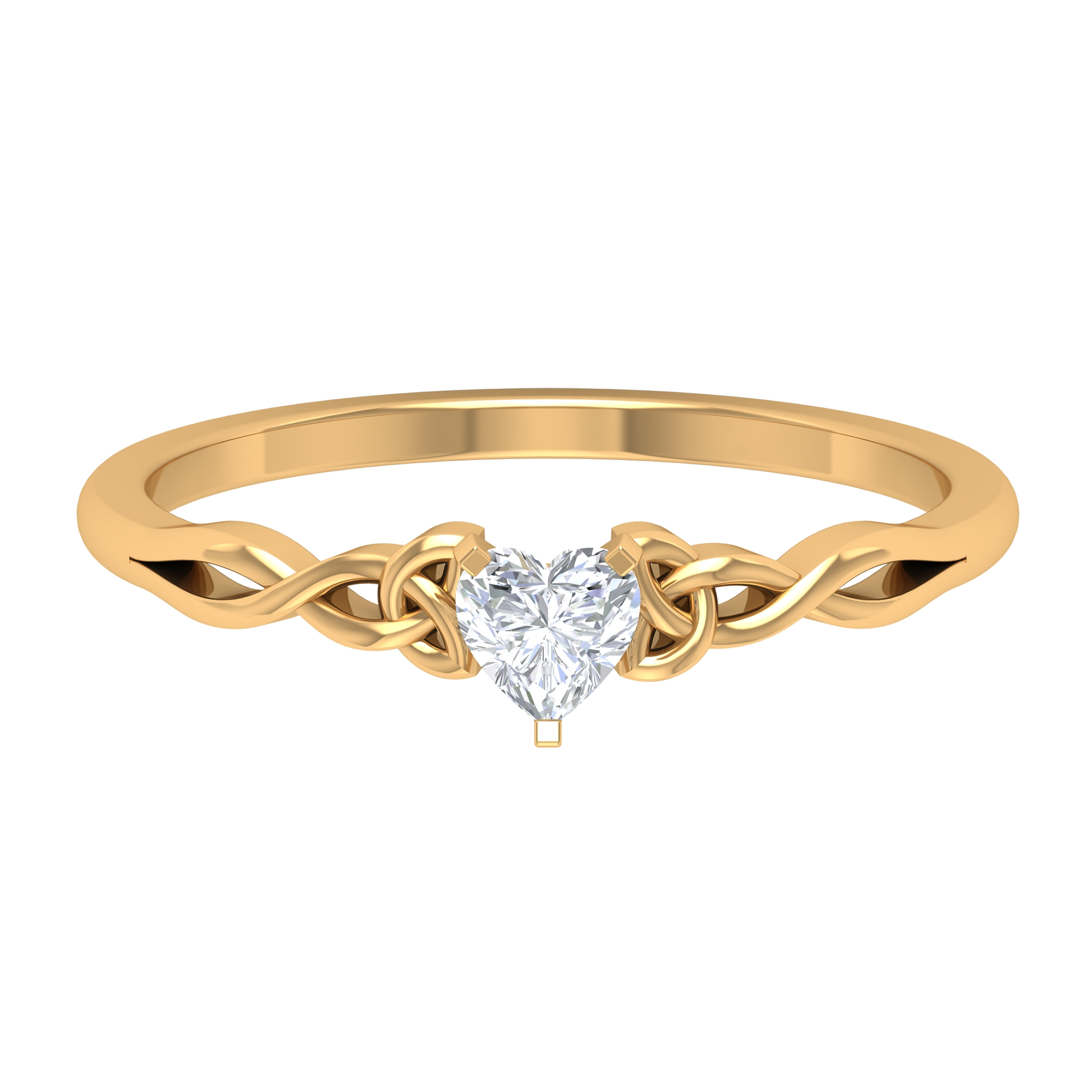 4 MM Heart Shape Diamond Solitaire Ring in 3 Prong Peg Head Setting with Celtic Band