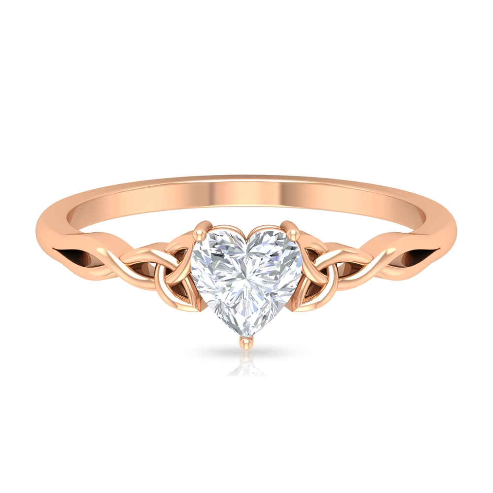 4 MM Heart Shape Diamond Solitaire Ring in 3 Prong Setting with Celtic Band
