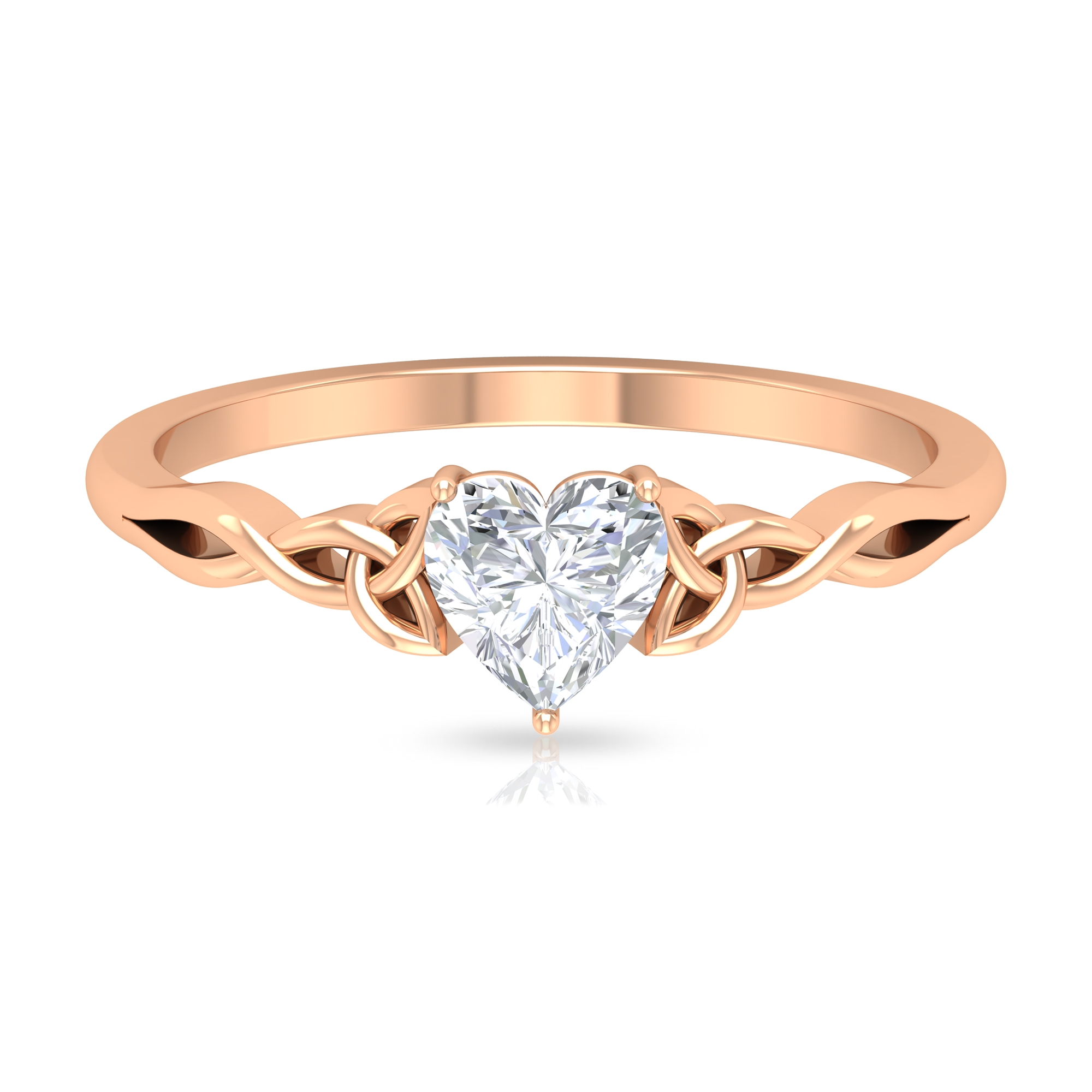 5.40 MM Heart Shape Diamond Solitaire Ring in 3 Prong Basket Setting with Celtic Band
