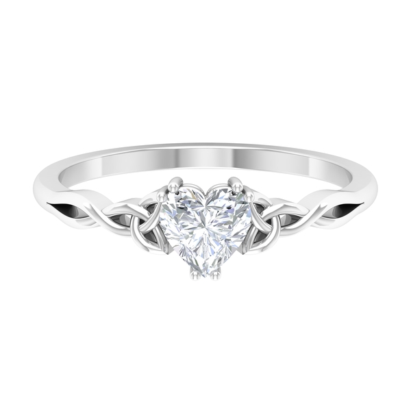 5.40 MM Heart Shape Diamond Solitaire Ring in Double Prong Setting with Celtic Band