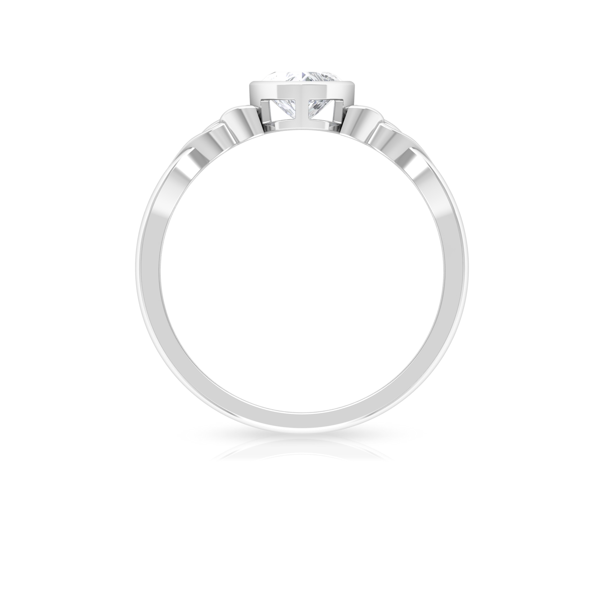 5.40 MM Heart Shape Diamond Solitaire Ring in Bezel Setting with Celtic Band