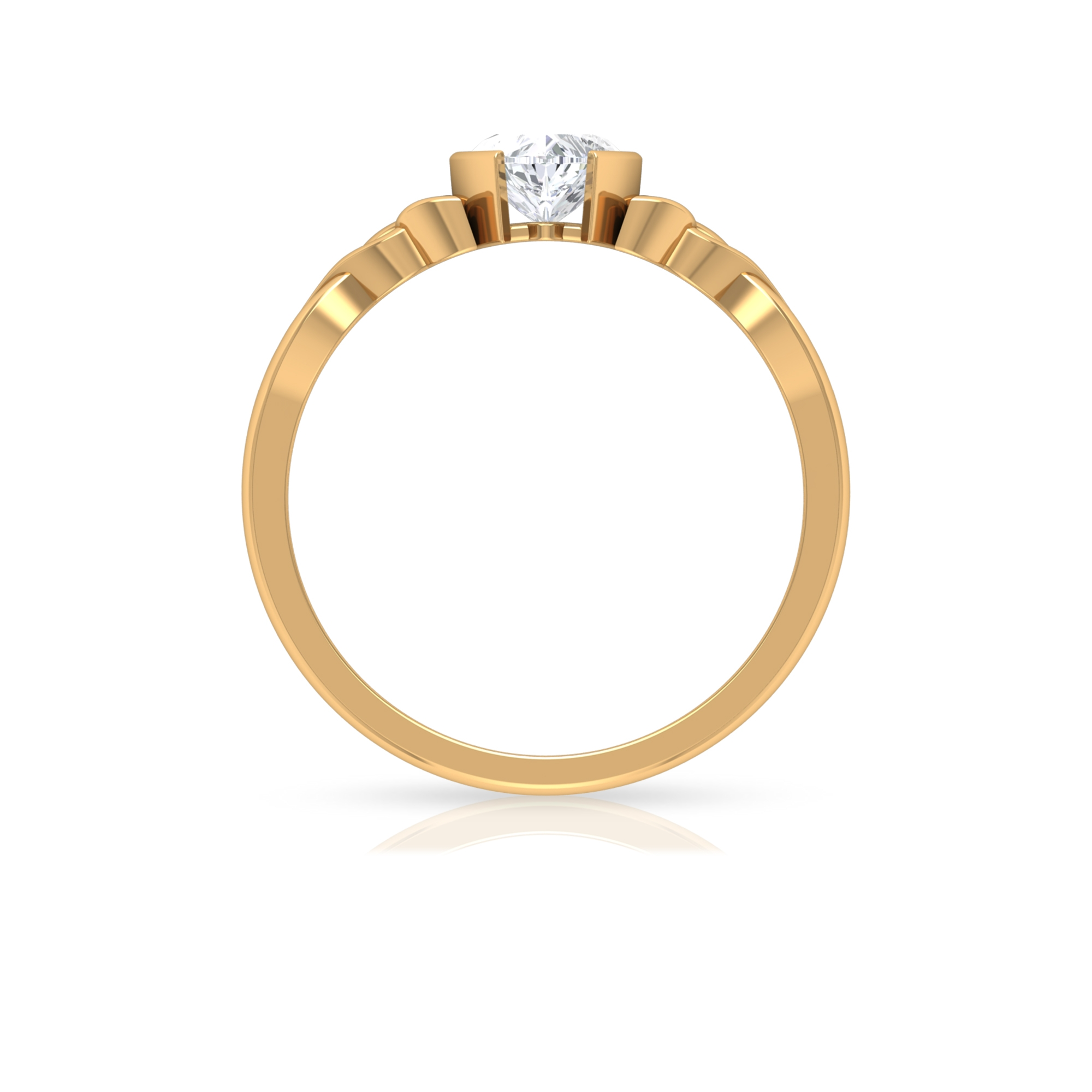 5.40 MM Heart Shape Diamond Solitaire Ring in Half Bezel Setting with Celtic Band