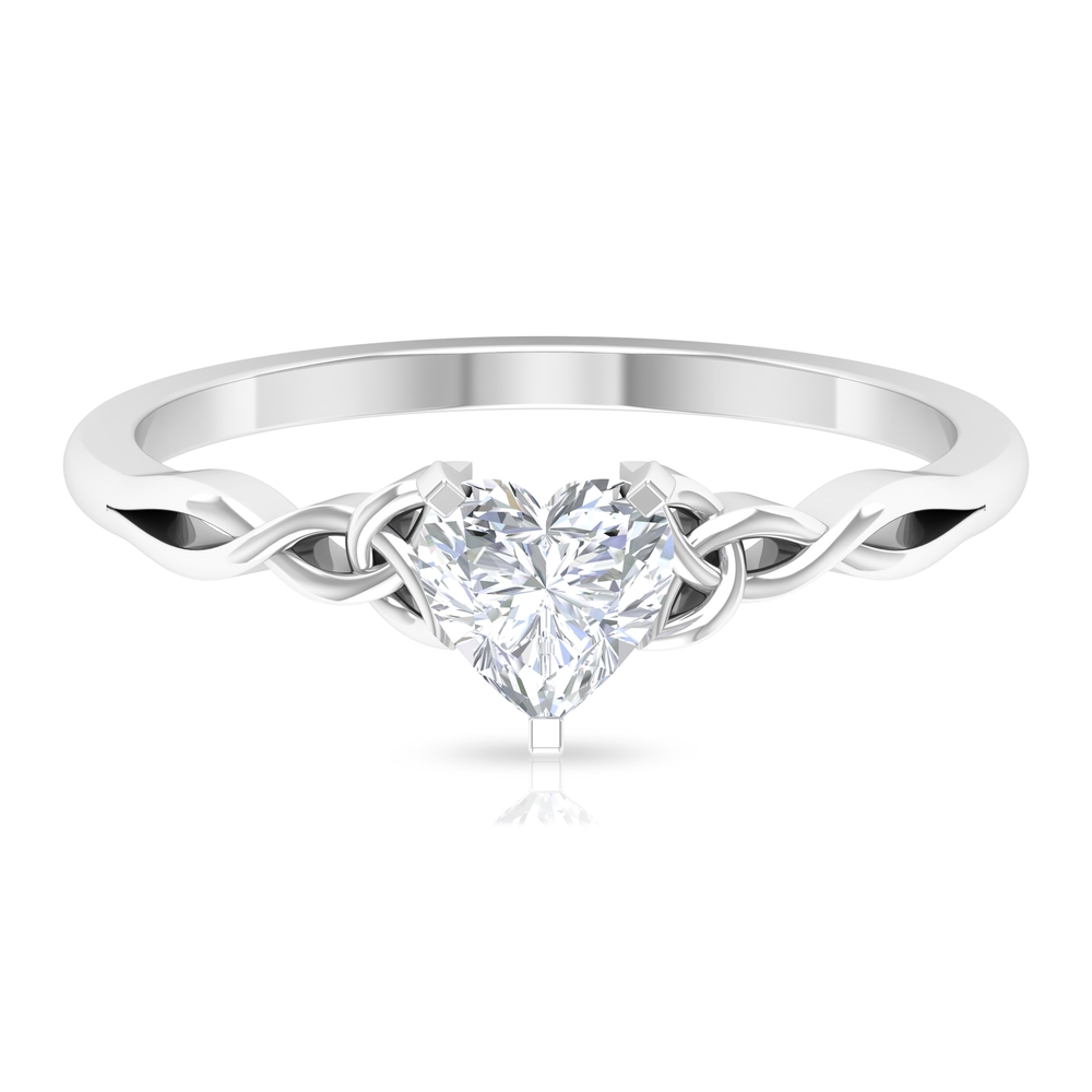 5.40 MM Heart Shape Diamond Solitaire Ring in 3 Prong Peg Head Setting with Celtic Band