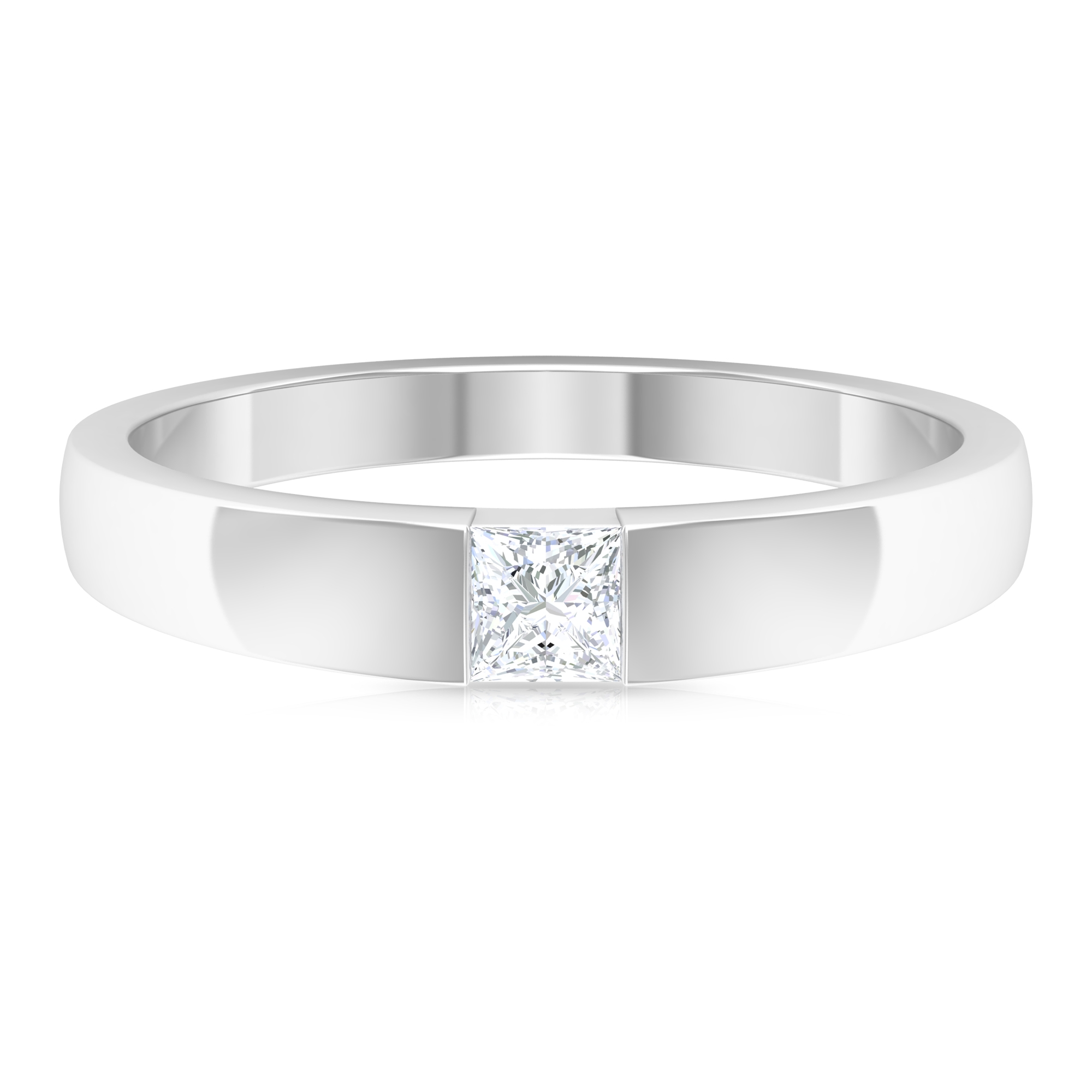 Princess Cut Diamond Solitaire Band Ring in Tension Mount Setting
