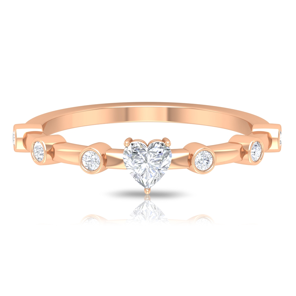 1/4 CT Three Prong Set Solitaire and Spaced Diamond Ring for Women