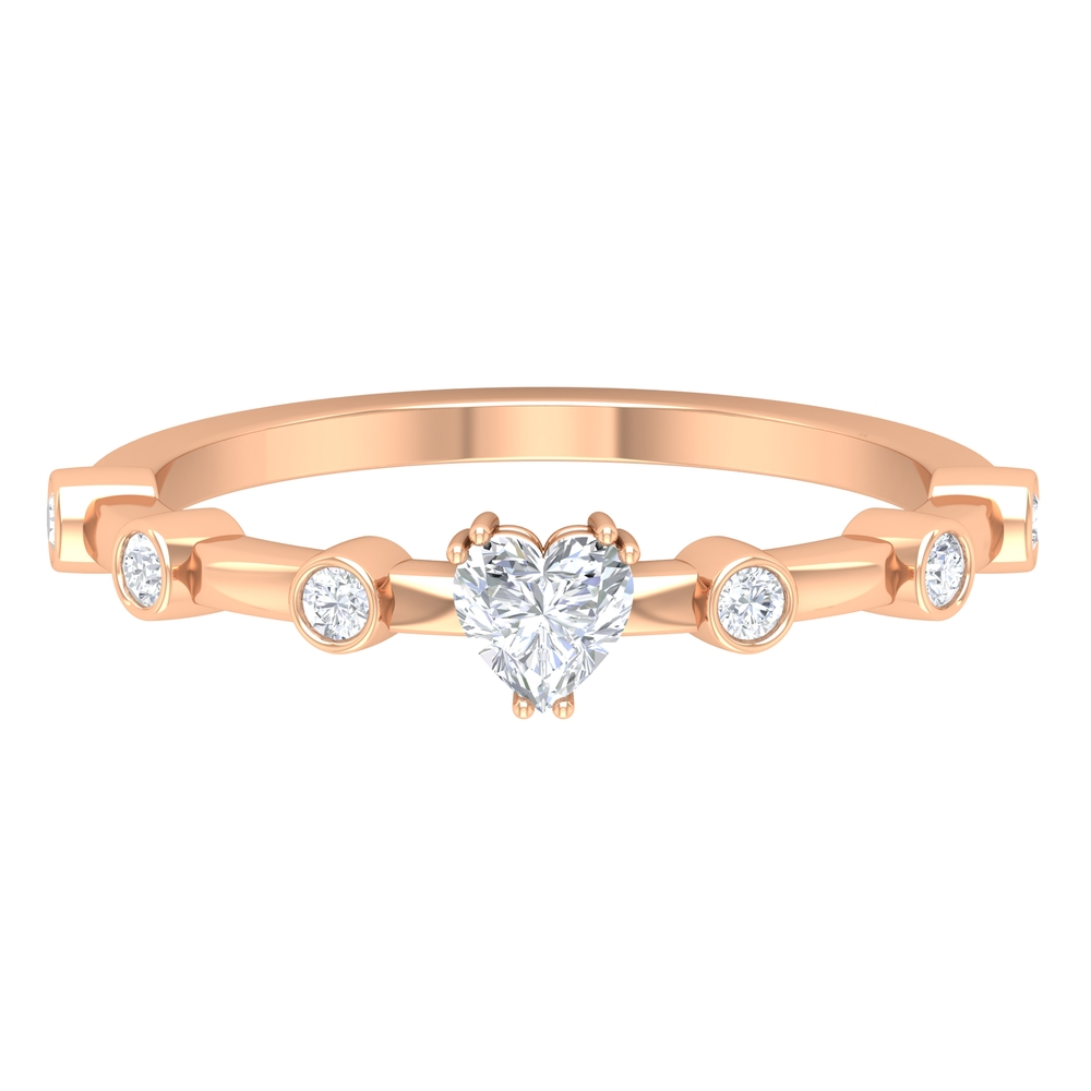 1/2 CT Double Prong Set Solitaire and Spaced Diamond Ring for Women
