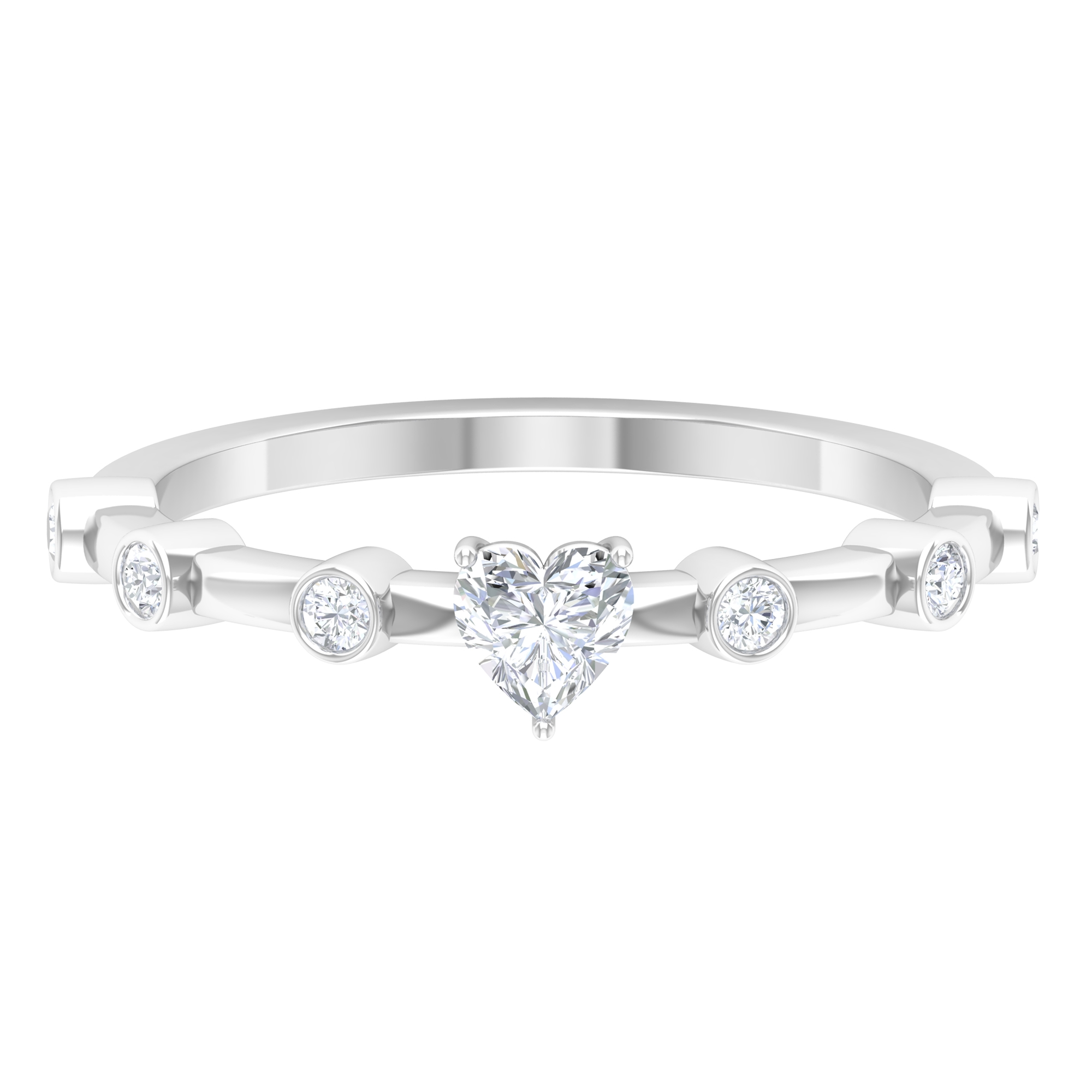1/2 CT Three Prong Set Solitaire and Spaced Diamond Ring for Women