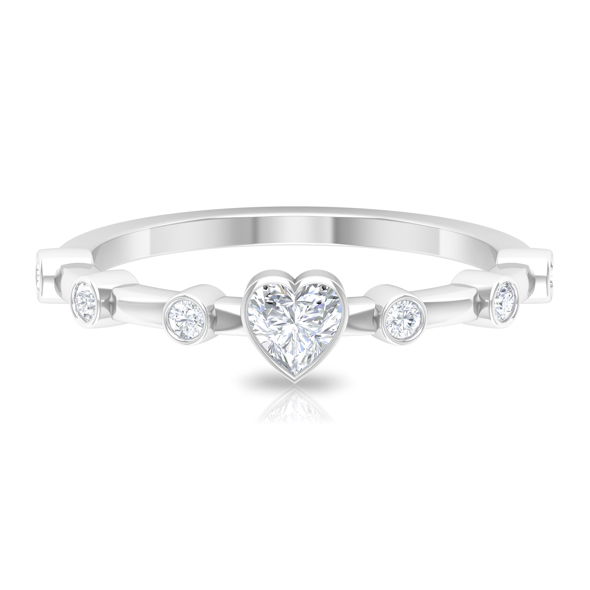 1/2 CT Bezel Set Solitaire and Spaced Diamond Ring for Women