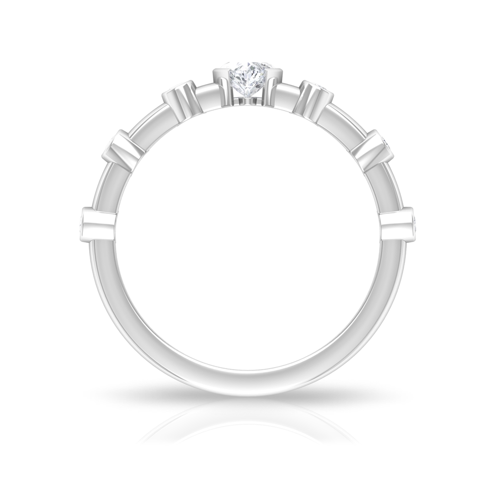 1/2 CT Half Bezel Set Solitaire and Spaced Diamond Ring for Women