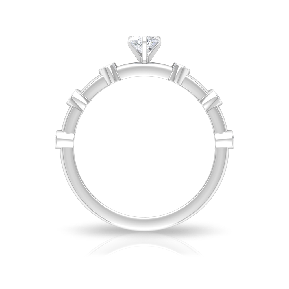 1/2 CT Three Prong Peg Head Set Solitaire and Spaced Diamond Ring for Women