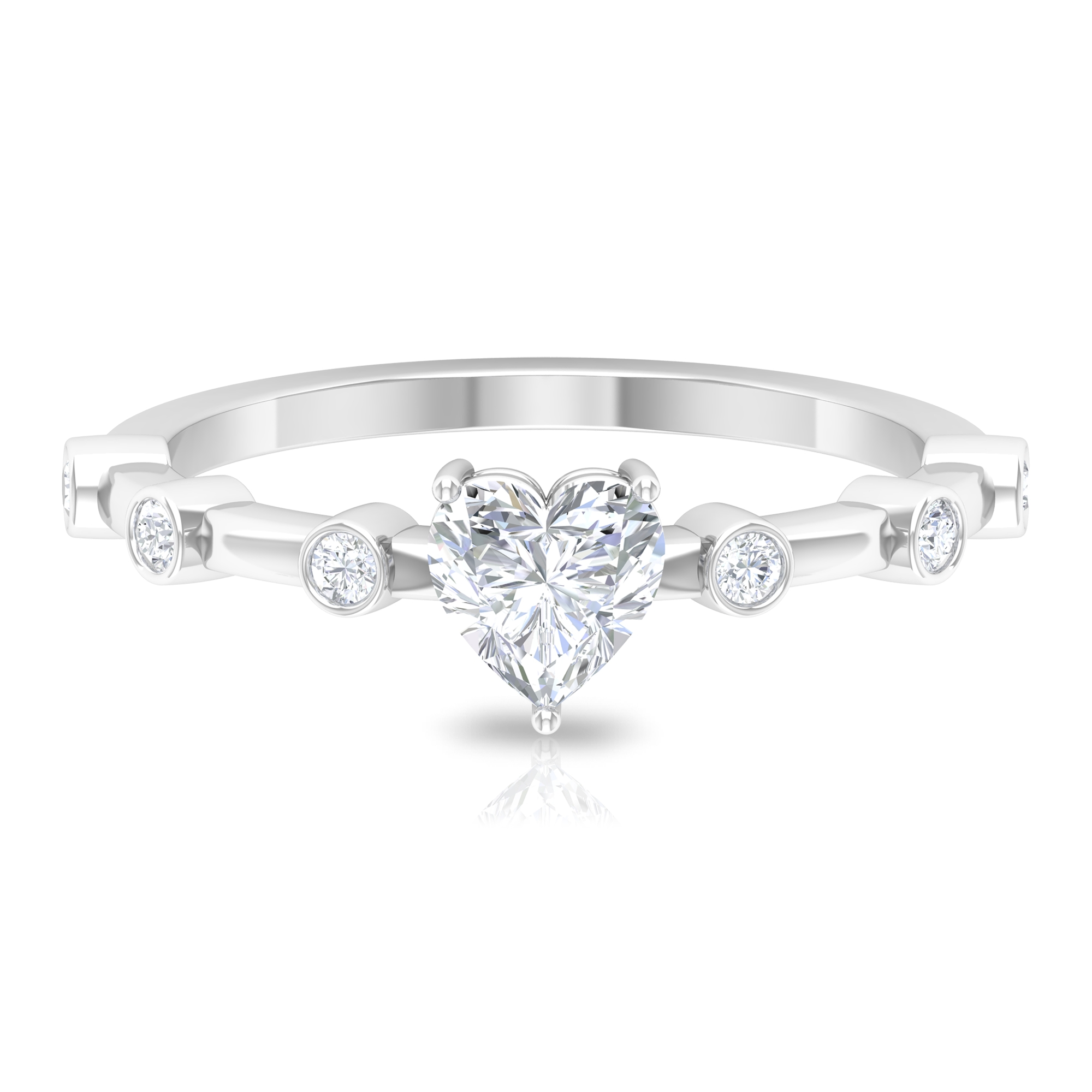 3/4 CT Heart Shape Diamond Solitaire Ring with Spaced Set Side Stones