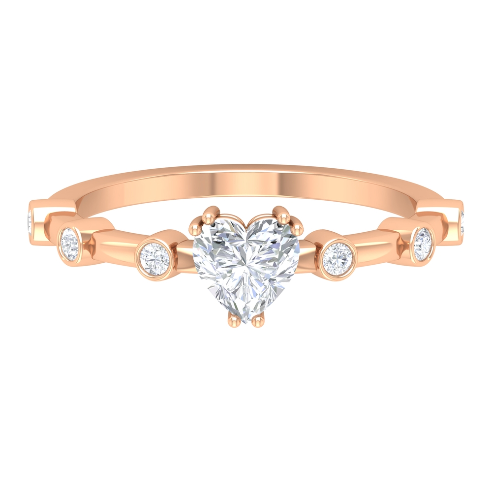 3/4 CT Heart Shape Diamond Solitaire Ring in Double Prong Setting with Spaced Set Side Stones