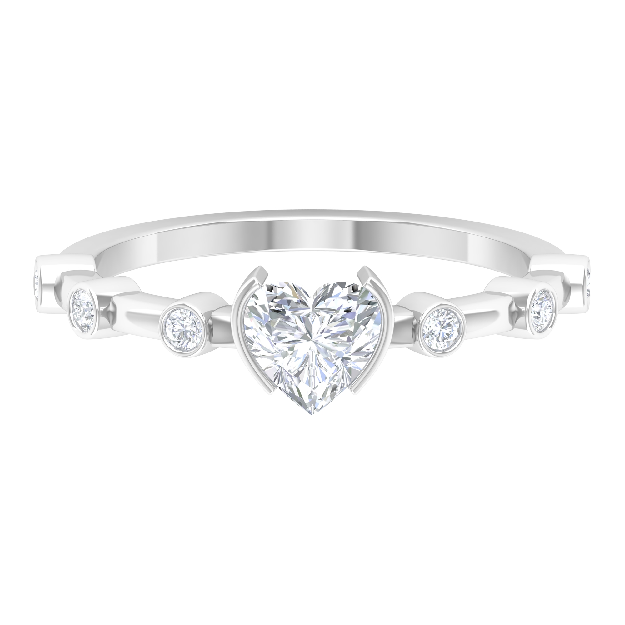 3/4 CT Heart Shape Diamond Solitaire Ring in Half Bezel Setting with Spaced Set Side Stones