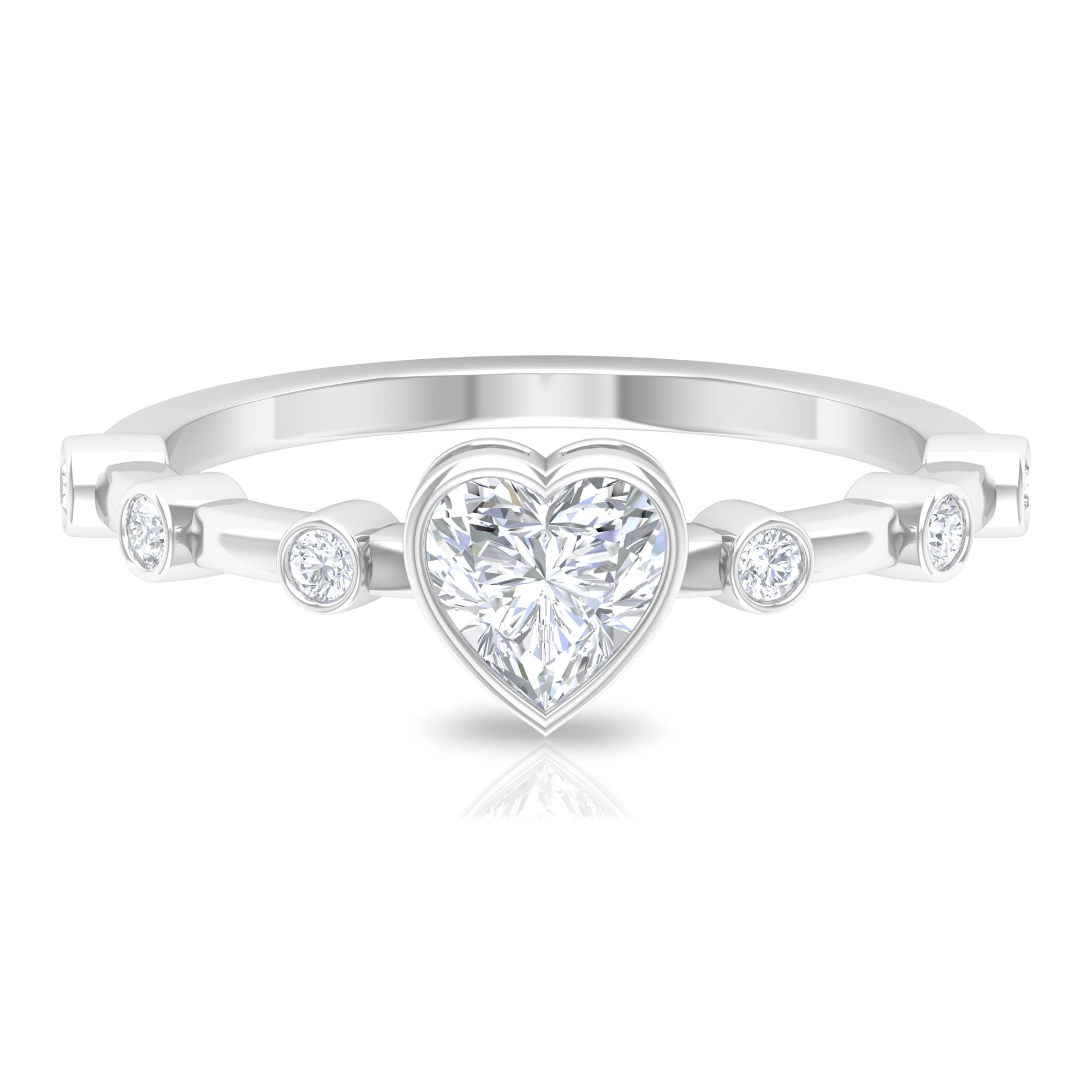 3/4 CT Heart Shape Diamond Solitaire Ring in Bezel Setting with Spaced Set Side Stones