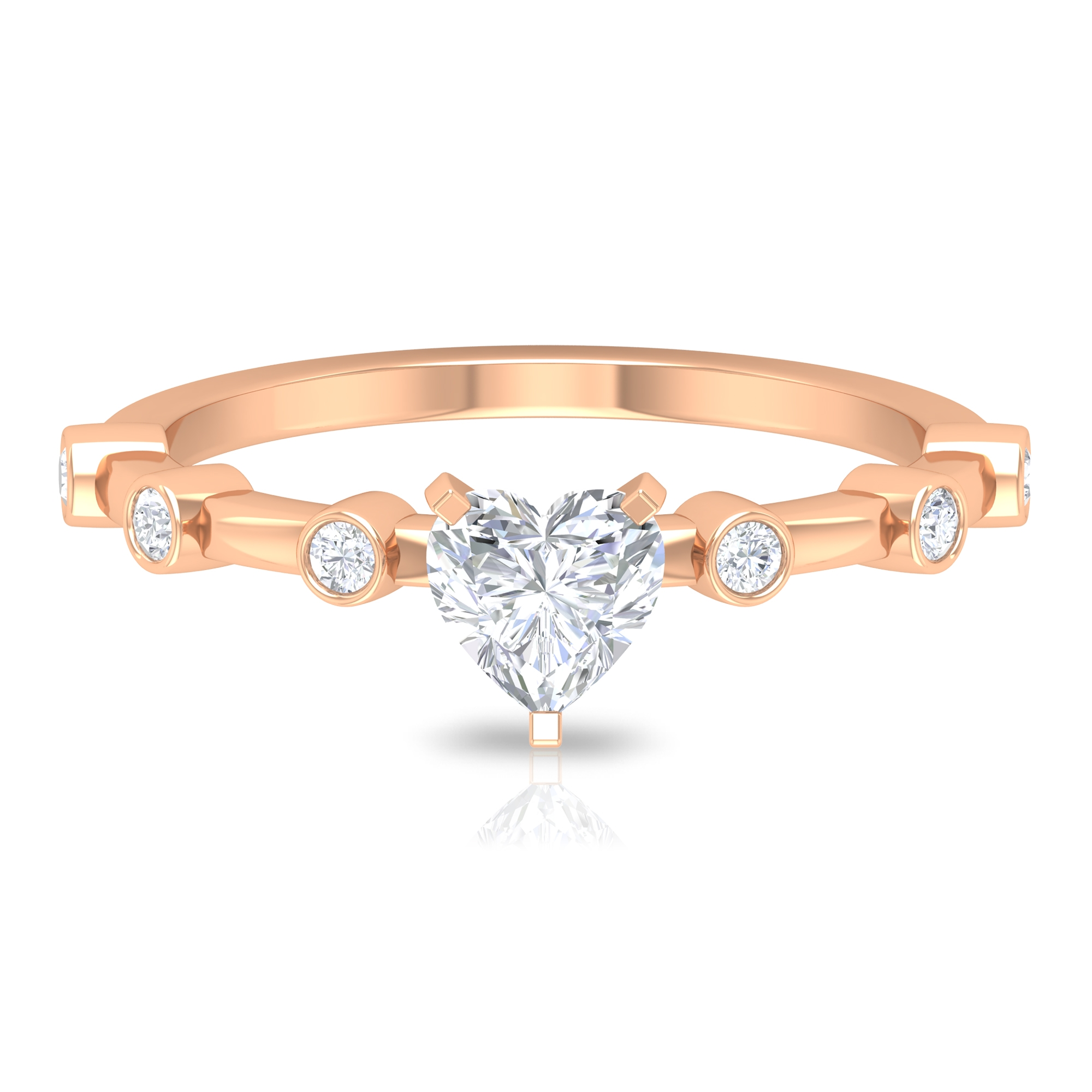 3/4 CT Heart Shape Diamond Solitaire Ring in 3 Prong Peg Head Setting with Spaced Set Side Stones