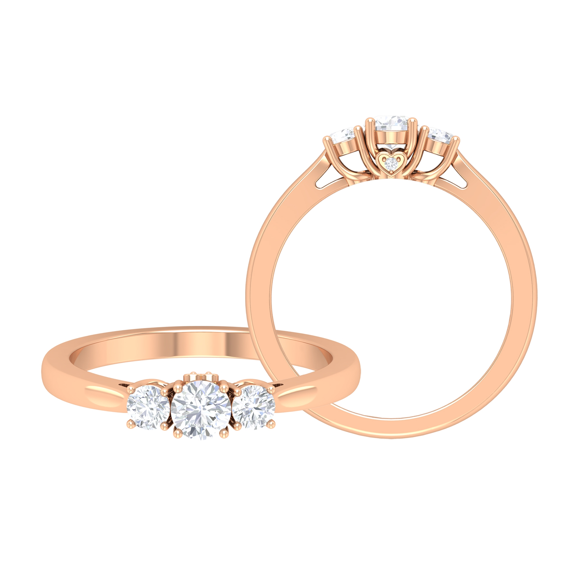 1/2 CT Diamond Three Stone Ring in Prong Setting with Surprise Style
