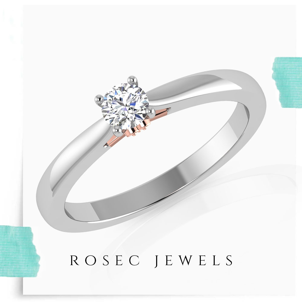 1/4 CT Solitaire Diamond Ring in Prong Setting with Surprise Style