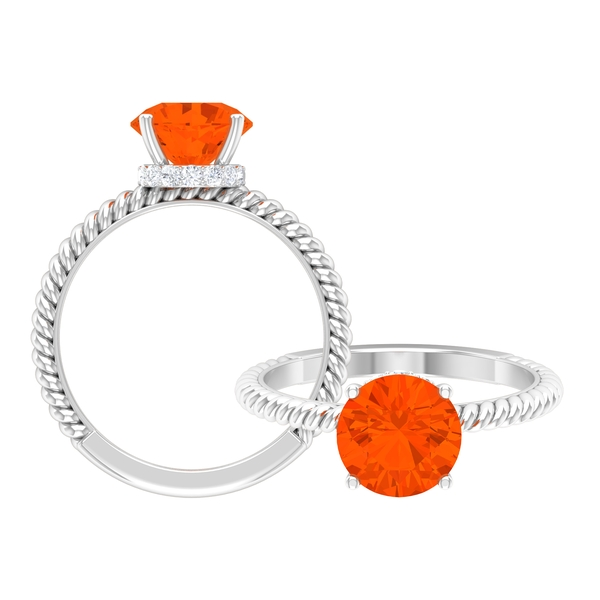 1 CT Solitaire Fire Opal Ring in 4 Prong Setting with Hidden Halo Moissanite and Twisted Rope Detail