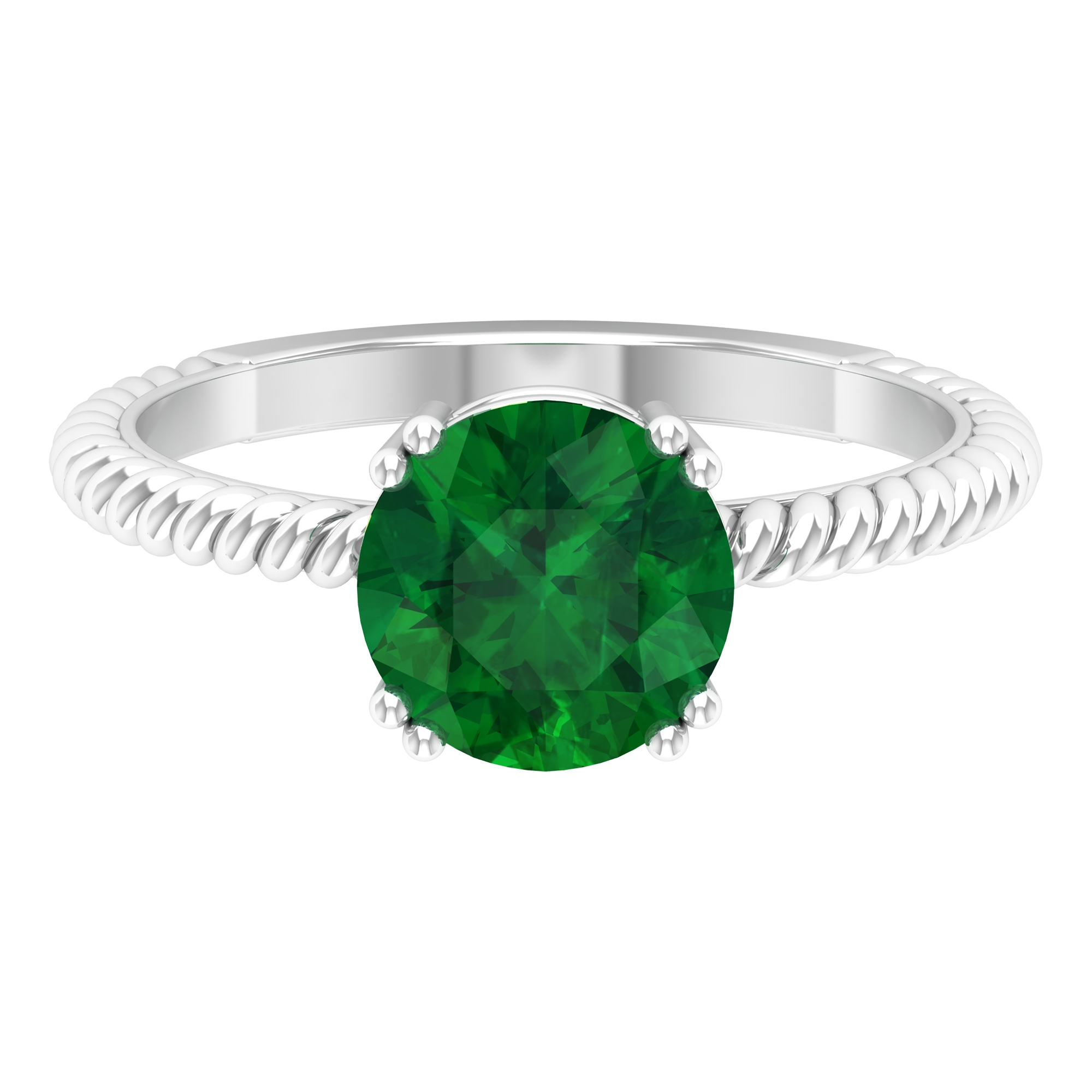May Birthstone 8 MM Emerald Solitaire Ring in Double Prong Setting with Twisted Rope Frame