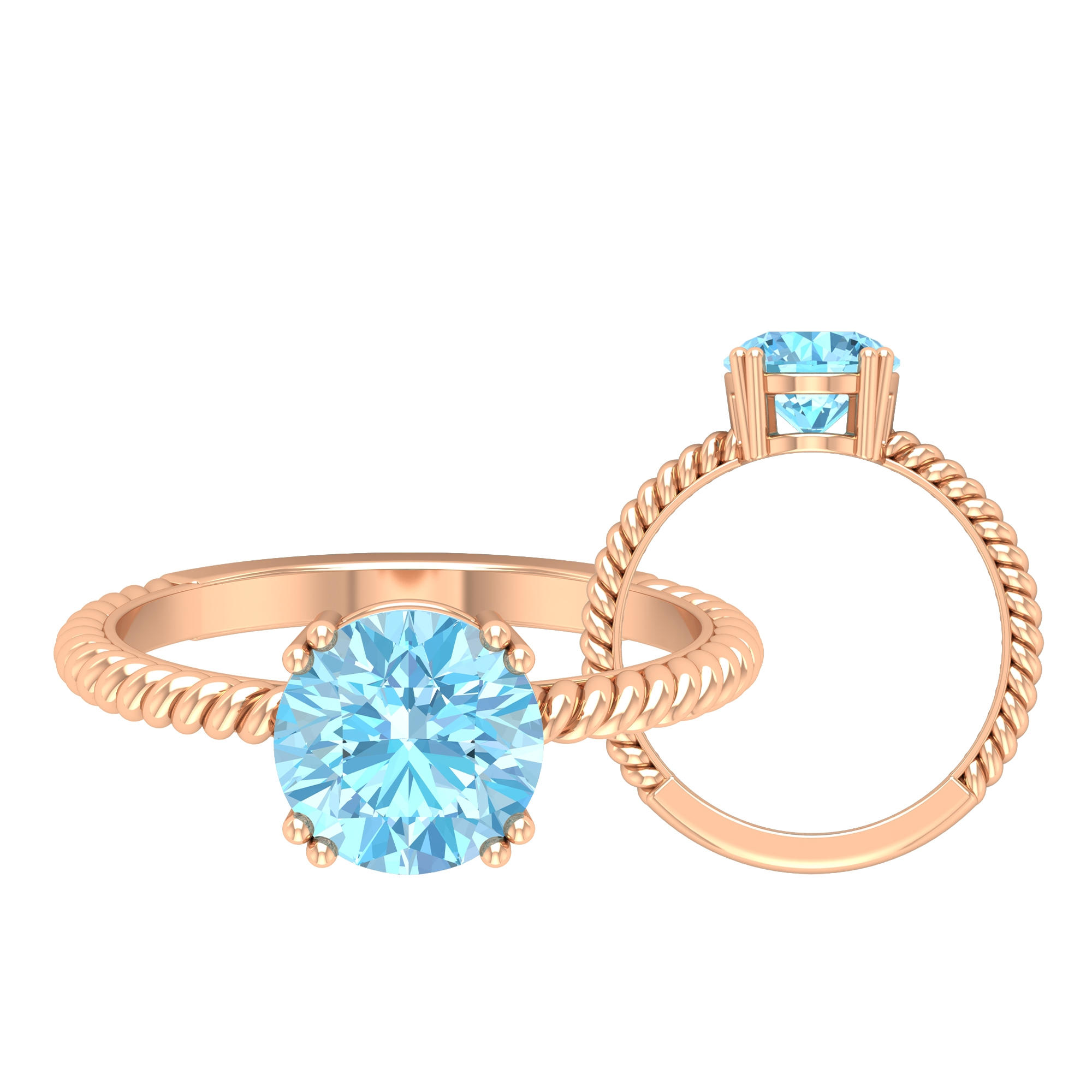 8 MM Round Shape Solitaire Aquamarine Ring in Double Prong Setting with Twisted Rope Detail