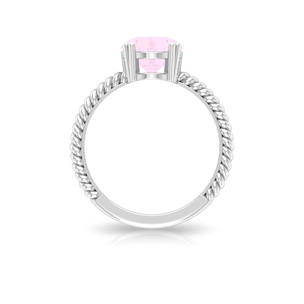 8 MM Round Shape Solitaire Rose Quartz Ring in Double Prong Setting with Twisted Rope Detail