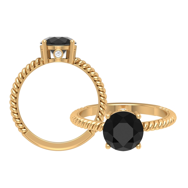 2.25 CT Black Diamond Solitaire Ring in 4 Prong Setting with Hidden Moissanite and Gold Twisted Rope Details