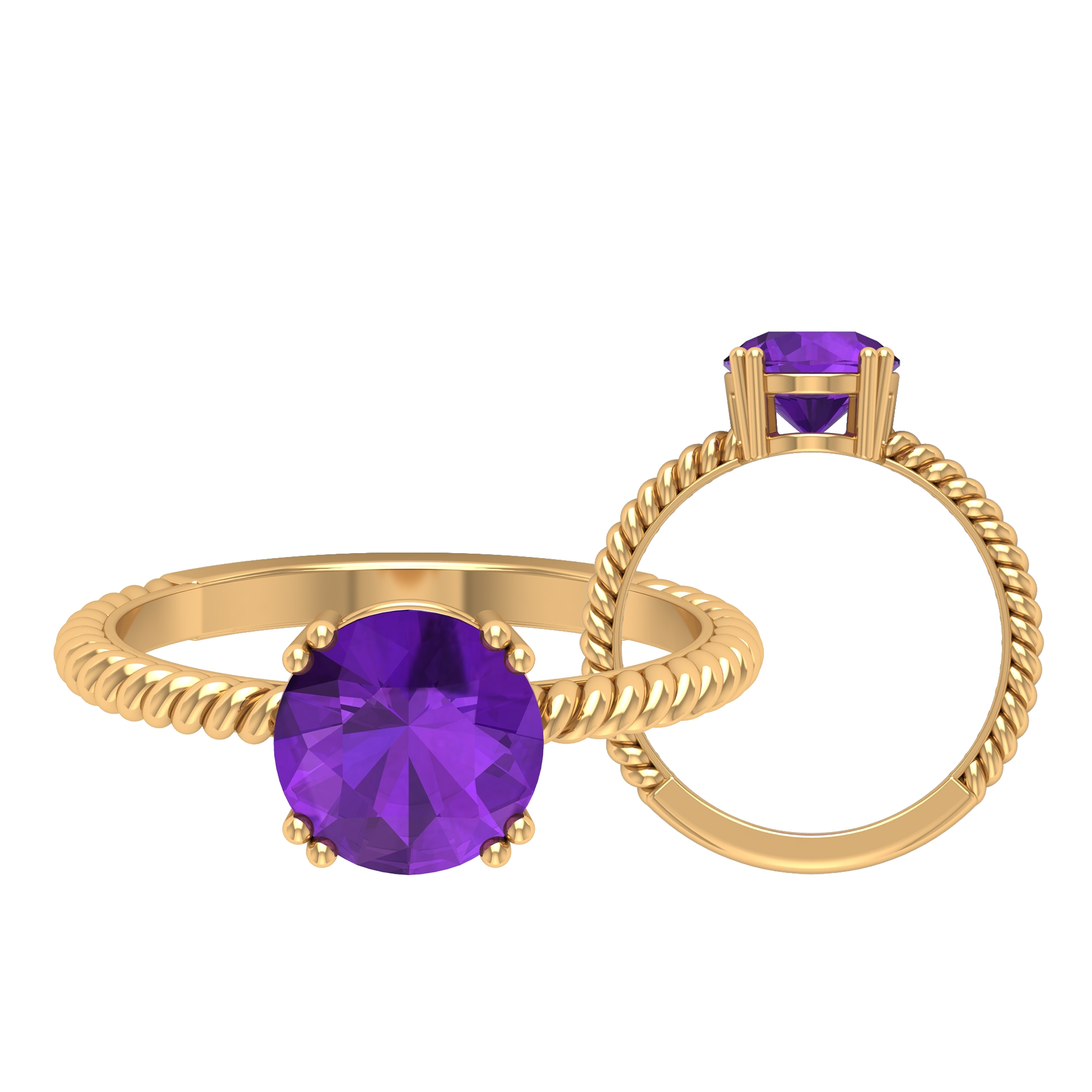 8 MM Round Shape Solitaire Amethyst Ring in Double Prong Setting with Twisted Rope Detail