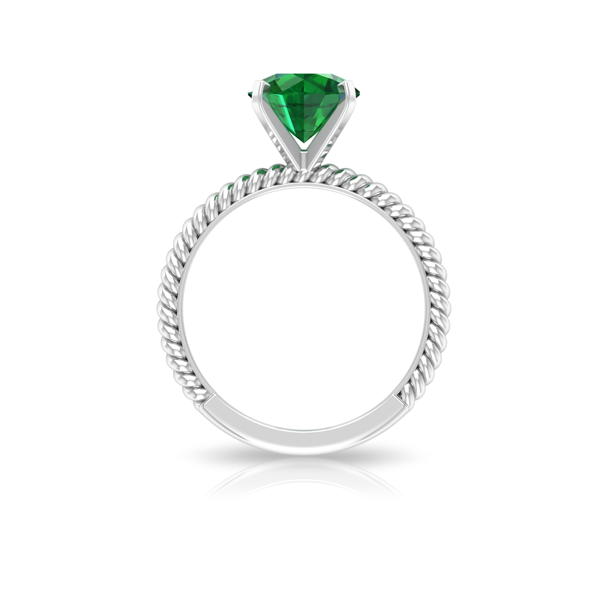 May Birthstone 8 MM Peg Head Set Emerald Solitaire Ring with Twisted Rope