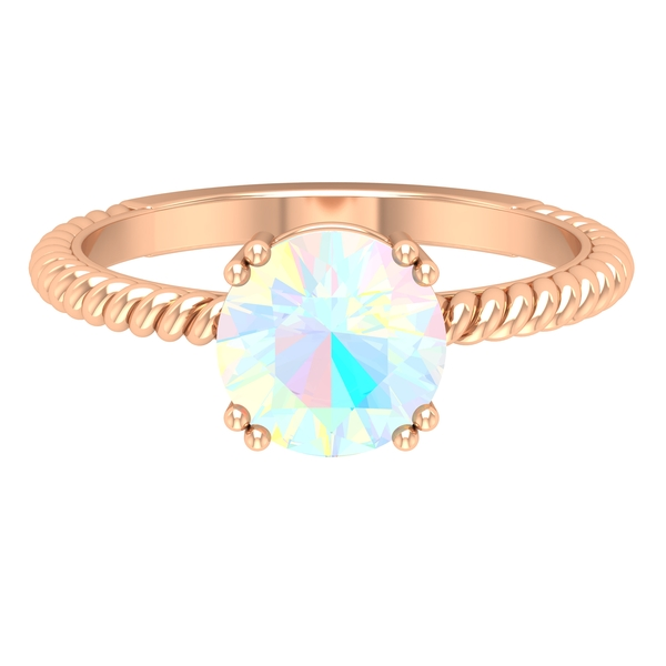8 MM Round Shape Solitaire Ethiopian Opal Ring in Double Prong Setting with Twisted Rope Detail